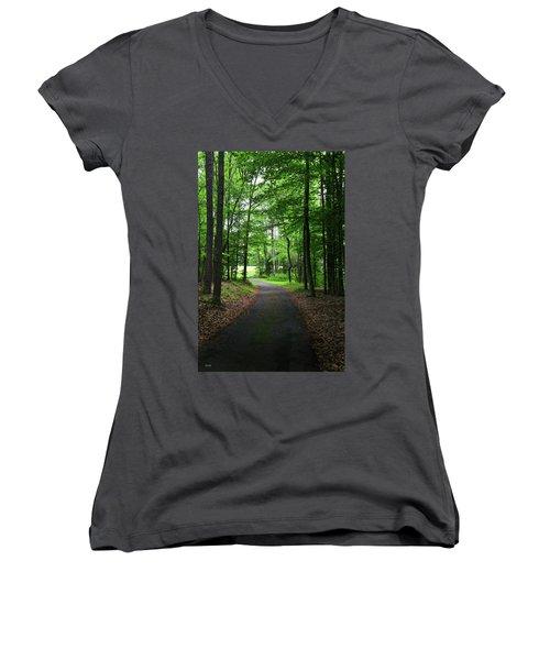 Buckner Farm Path Women's V-Neck T-Shirt (Junior Cut) by Dana Sohr