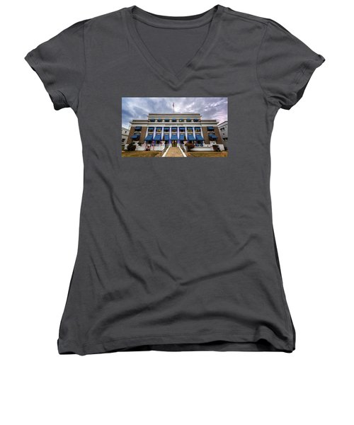 Women's V-Neck T-Shirt (Junior Cut) featuring the photograph Buckstaff Bathhouse - Christmas by Stephen Stookey