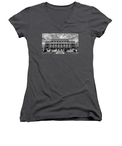 Women's V-Neck T-Shirt (Junior Cut) featuring the photograph Buckstaff Baths - Bw by Stephen Stookey