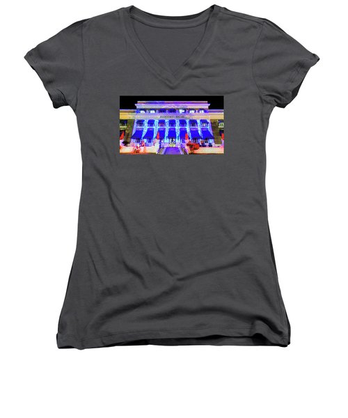 Women's V-Neck T-Shirt (Junior Cut) featuring the photograph Buckstaff Baths - Christmastime by Stephen Stookey