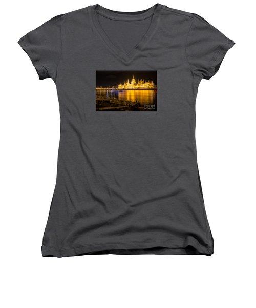 Women's V-Neck T-Shirt (Junior Cut) featuring the photograph Budapest Night View Parliament by Jivko Nakev