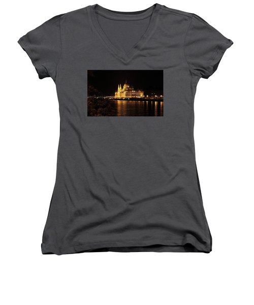 Women's V-Neck T-Shirt (Junior Cut) featuring the digital art Budapest - Parliament by Pat Speirs