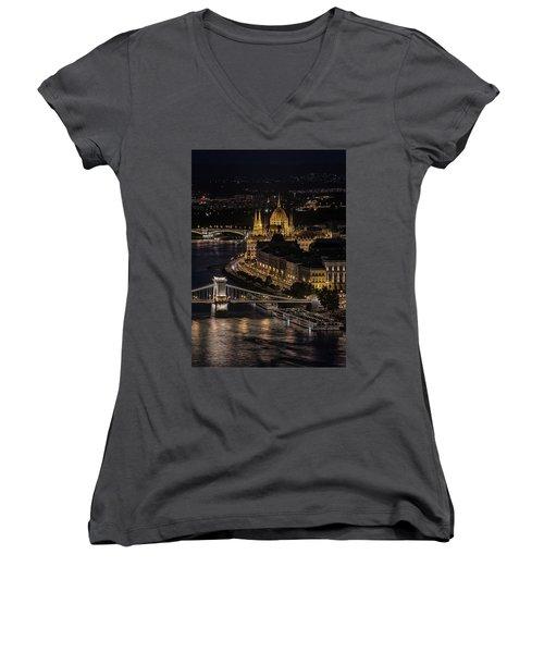Budapest View At Night Women's V-Neck T-Shirt (Junior Cut) by Jaroslaw Blaminsky