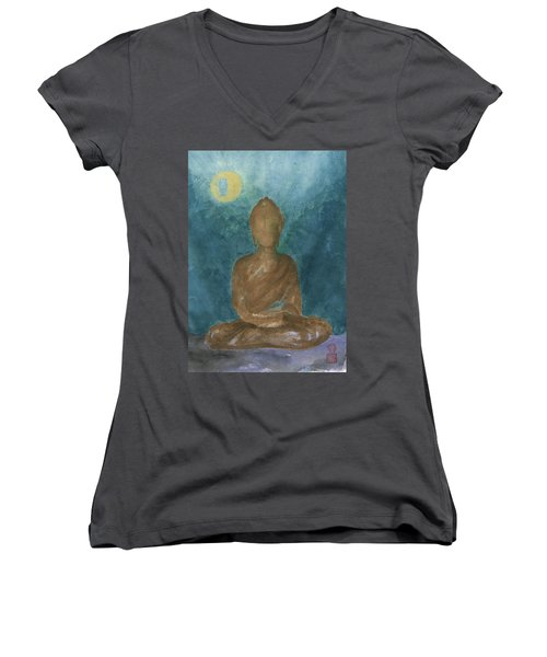 Buddha Abstract Women's V-Neck (Athletic Fit)