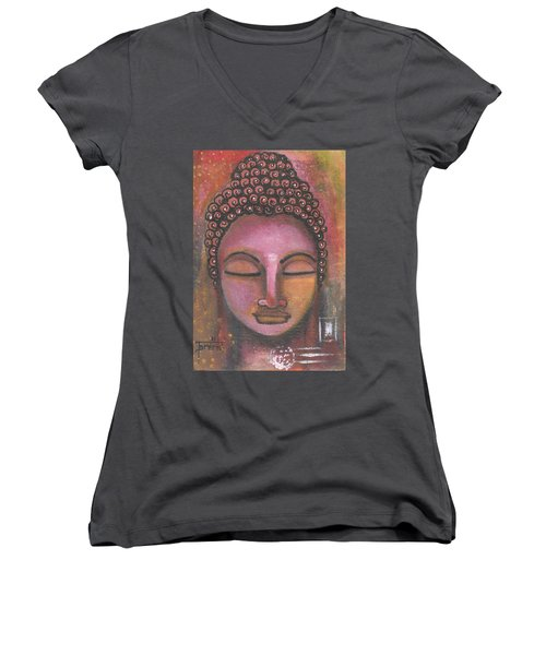 Buddha In Shades Of Purple Women's V-Neck