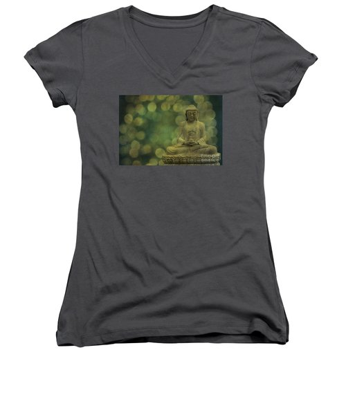 Buddha Light Gold Women's V-Neck T-Shirt