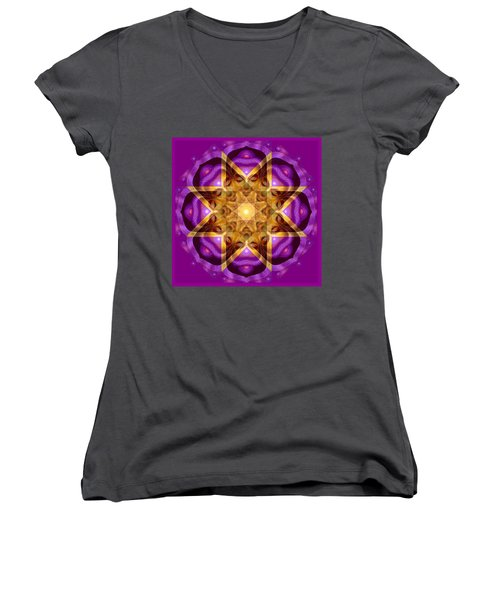 Women's V-Neck T-Shirt (Junior Cut) featuring the painting Buddha Mandala by Sue Halstenberg
