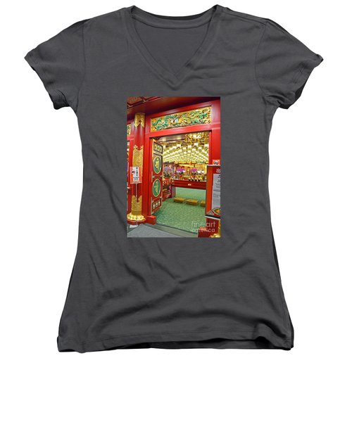Buddha Tooth Relic Temple And Museum Women's V-Neck T-Shirt (Junior Cut) by Eva Kaufman