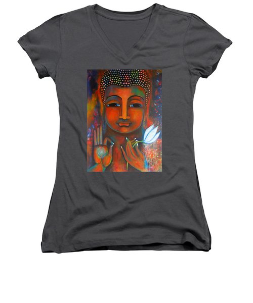Buddha With A White Lotus In Earthy Tones Women's V-Neck T-Shirt