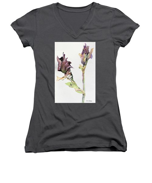 Budding Irises Women's V-Neck T-Shirt