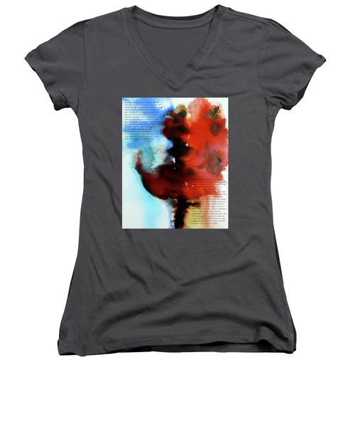 Women's V-Neck T-Shirt (Junior Cut) featuring the painting Budding Romance by Jo Appleby