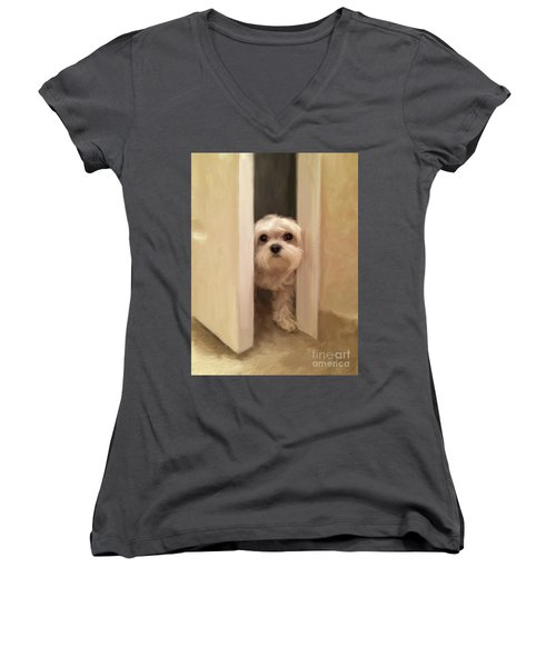 Women's V-Neck T-Shirt (Junior Cut) featuring the photograph Hello by Lois Bryan