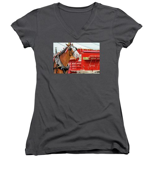 Budweiser Clydesdale In Full Dress Women's V-Neck (Athletic Fit)