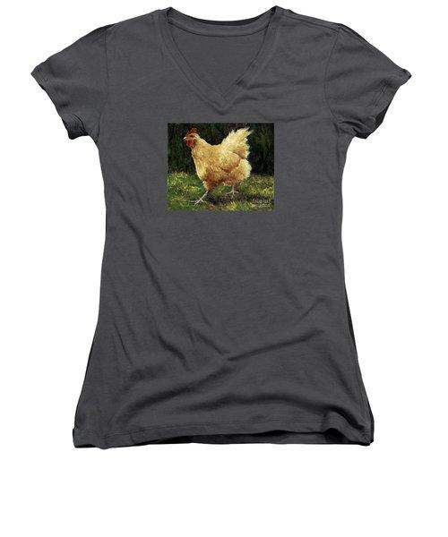 Buff Orpington Chicken Women's V-Neck T-Shirt (Junior Cut)