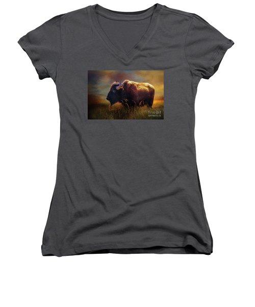 Buffalo Cow Women's V-Neck T-Shirt