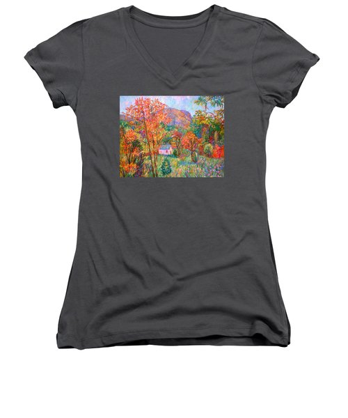 Women's V-Neck T-Shirt (Junior Cut) featuring the painting Buffalo Mountain In Fall by Kendall Kessler