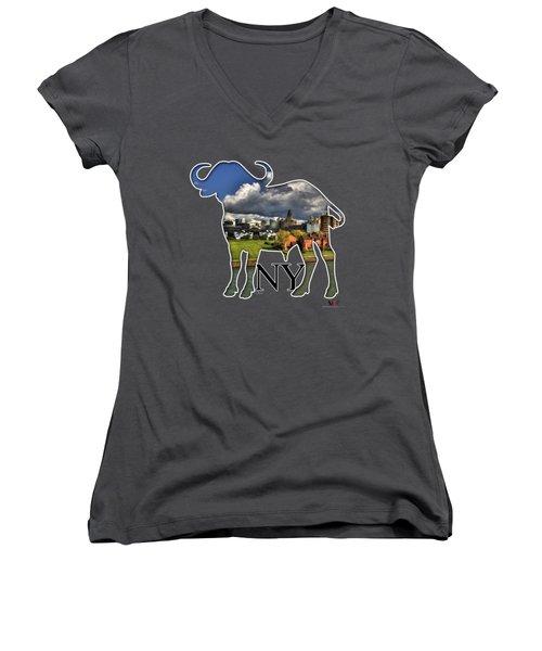 Buffalo Ny Along The Marina Women's V-Neck T-Shirt