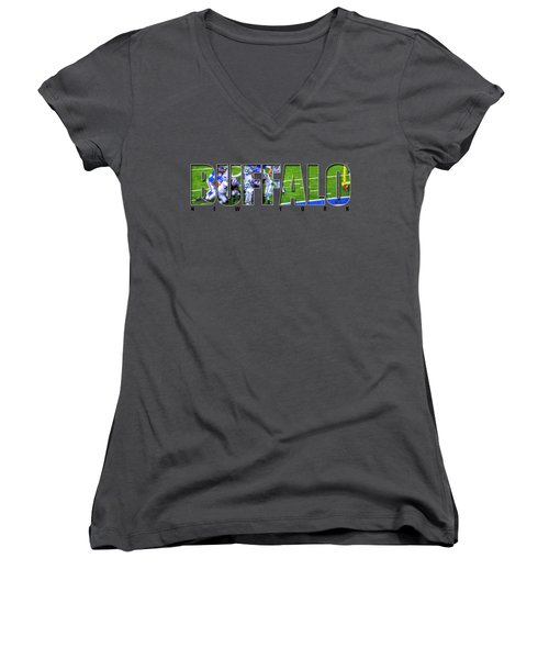 Buffalo Ny Buffalo Bills Women's V-Neck T-Shirt (Junior Cut) by Michael Frank Jr