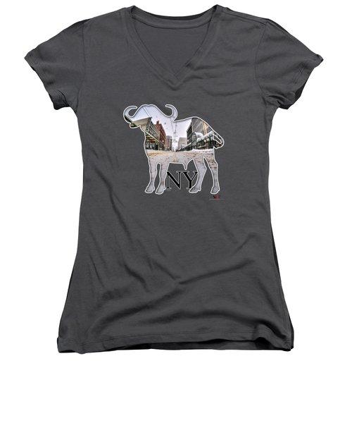 Buffalo Ny Snowy Main St Women's V-Neck T-Shirt