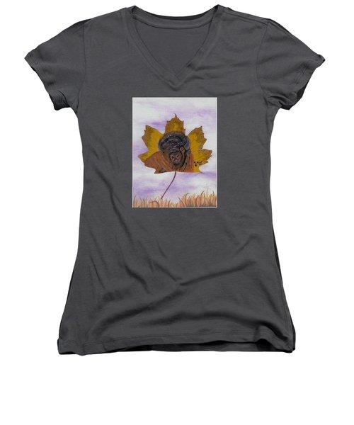 Buffalo Profile Women's V-Neck T-Shirt (Junior Cut) by Ralph Root