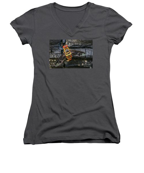 Bug With Red Eyes Women's V-Neck T-Shirt (Junior Cut) by Tom Claud