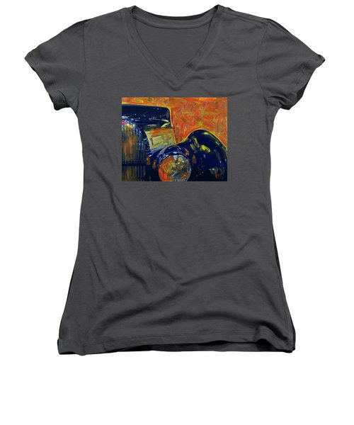 Bugatti Abstract Blue Women's V-Neck T-Shirt (Junior Cut) by Walter Fahmy