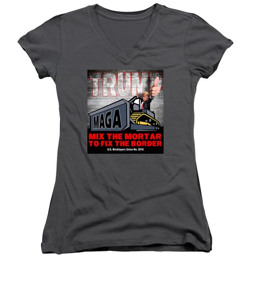 Women's V-Neck T-Shirt (Junior Cut) featuring the photograph Build The Wall by Don Olea