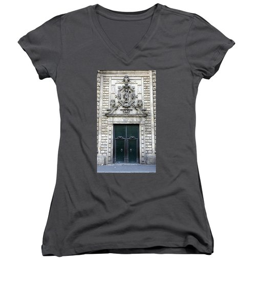 Building Artwork And Old Door In Barcelona Women's V-Neck (Athletic Fit)