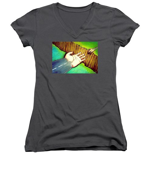 Building Bridges Women's V-Neck T-Shirt (Junior Cut) by Paulo Zerbato