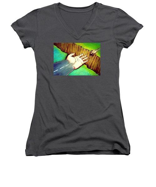 Building Bridges Women's V-Neck T-Shirt