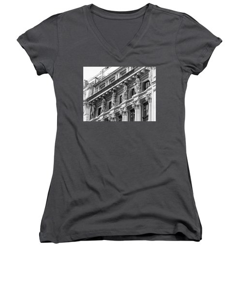 Women's V-Neck T-Shirt (Junior Cut) featuring the photograph Building by Silvia Bruno