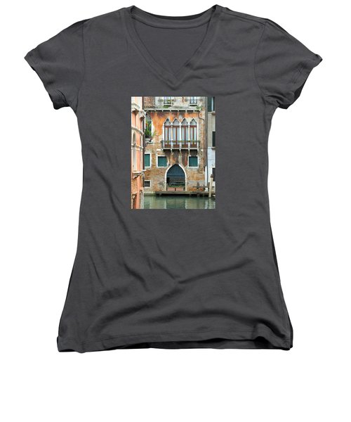 Buildings Of Venice Women's V-Neck T-Shirt (Junior Cut) by Lisa Boyd