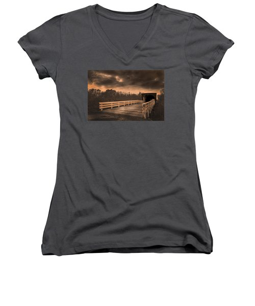 Built In 1883 Movie Clint Eastwood Women's V-Neck T-Shirt (Junior Cut) by Randall Branham