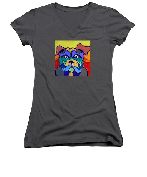 Bull Dog - Don't Give Me Your Lines , And Keep Your Hands To Yourself Women's V-Neck (Athletic Fit)