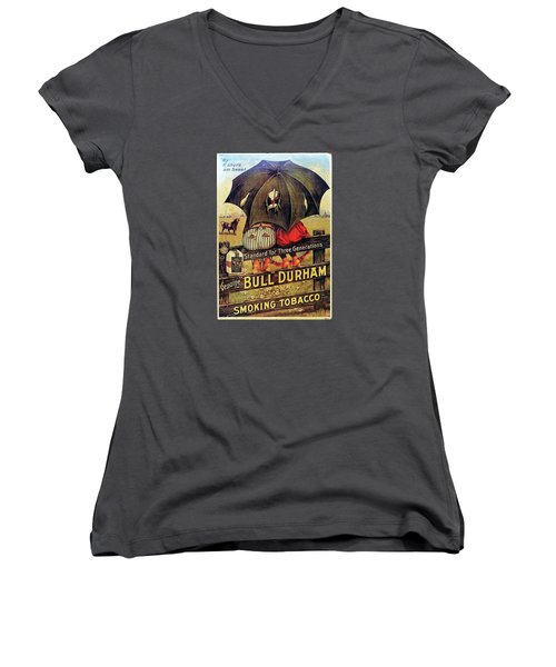 Bull Durham Smoking Tobacco Women's V-Neck T-Shirt