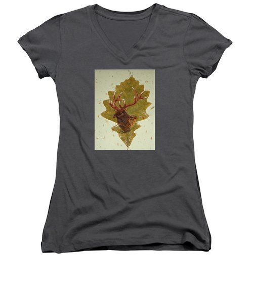 Bull Elk Women's V-Neck T-Shirt (Junior Cut) by Ralph Root