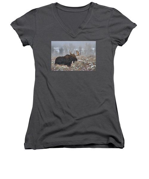 Women's V-Neck T-Shirt (Junior Cut) featuring the photograph Bull Moose In The Fog by Adam Jewell