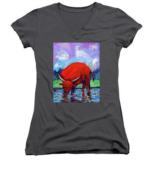 Bull On The River Women's V-Neck