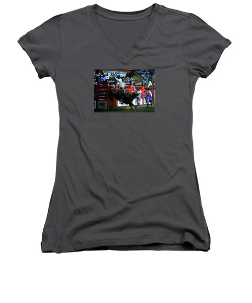 Bull Riding At The Grand National Rodeo Women's V-Neck