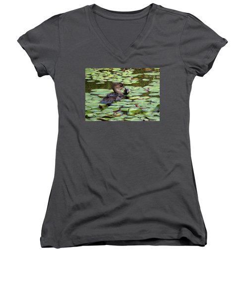 Bullfrog For Breakfast Women's V-Neck T-Shirt (Junior Cut) by I'ina Van Lawick