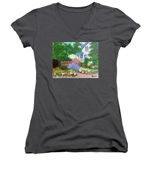 Bully Hill Vineyard Women's V-Neck T-Shirt (Junior Cut) by Cynthia Morgan