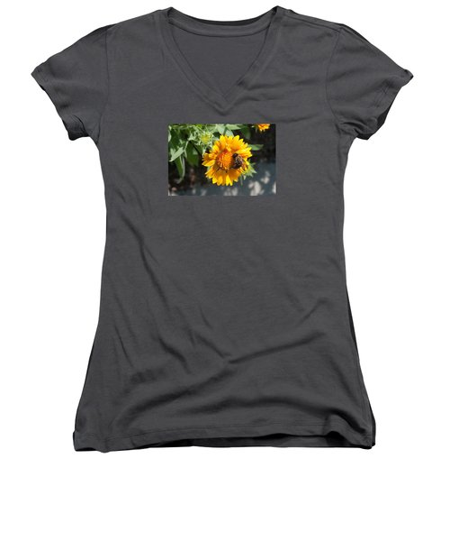 Bumble Bee Collecting Pollen On Sunflower Women's V-Neck (Athletic Fit)