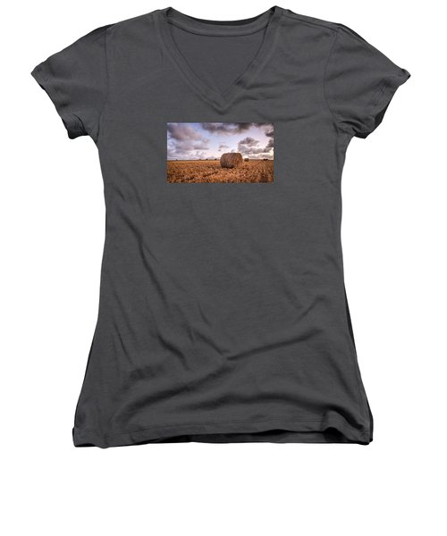 Bundy Hay Bales #3 Women's V-Neck T-Shirt (Junior Cut) by Brad Grove