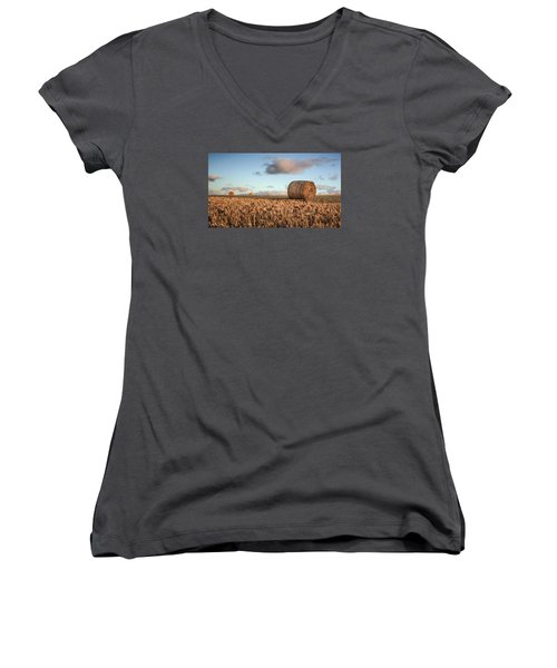 Bundy Hay Bales #7 Women's V-Neck T-Shirt (Junior Cut) by Brad Grove