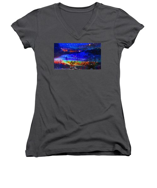 Bunnies At The Slopes Women's V-Neck T-Shirt (Junior Cut)