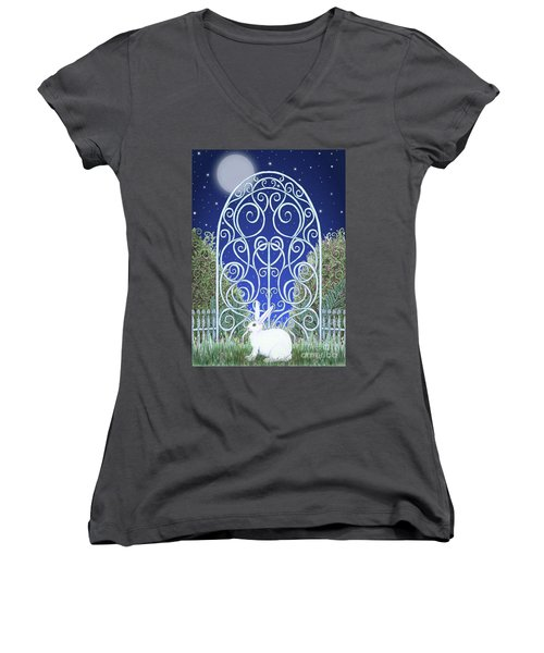Bunny, Gate And Moon Women's V-Neck