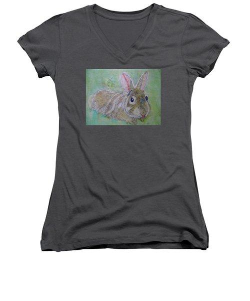 bunny named Rocket Women's V-Neck (Athletic Fit)