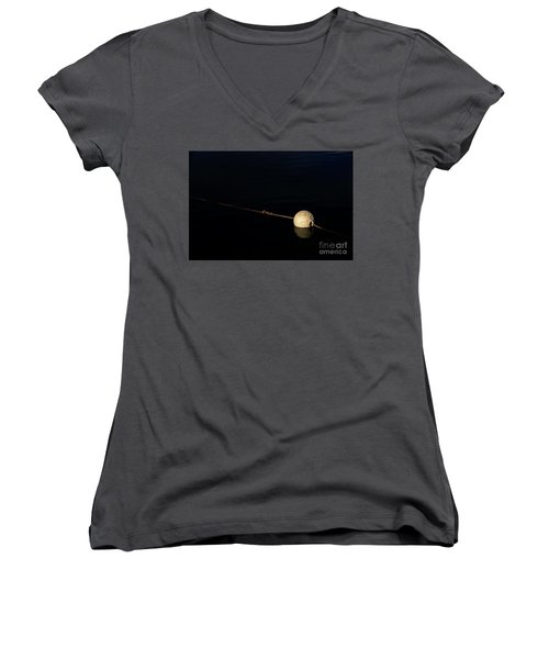 Women's V-Neck T-Shirt featuring the photograph Buoy At Night by Stephen Mitchell