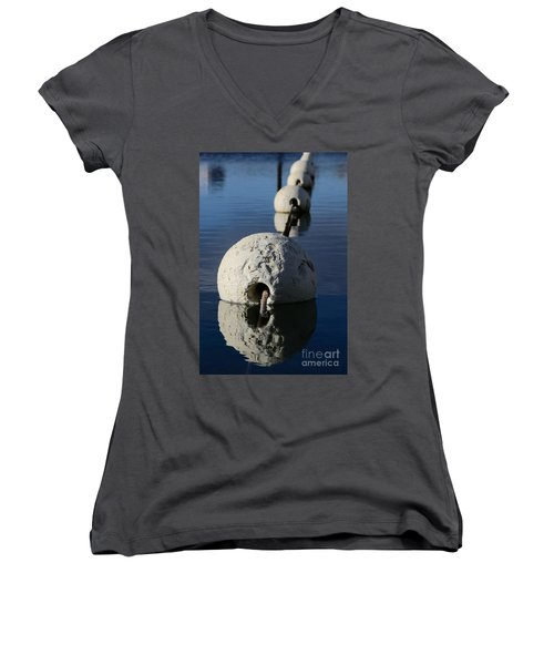 Women's V-Neck T-Shirt featuring the photograph Buoy In Detail by Stephen Mitchell