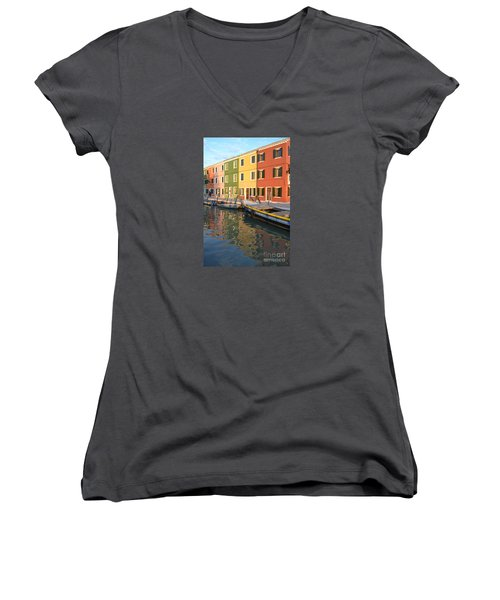 Women's V-Neck T-Shirt (Junior Cut) featuring the photograph Burano Italy 1 by Rebecca Margraf